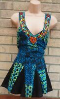 NEXT BLUE BLACK GREEN MULTI COLOUR BEADED PEPLUM SLEEVELESS BLOUSE TOP SHIRT 12