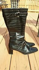 Lumiani Women's  Tall Riding Boots Size 9M Black Made in Italy
