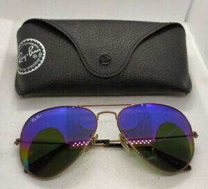 Ray Ban Aviator large metal bronze frames blue green lenses sunglasses 58 lens