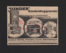 Schwenningen, publicité 1929, Jauch & schmid montres-usine JUNDES appareils de contrôle