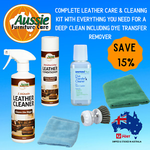 LEATHER CLEANER CONDITIONER KIT WITH DYE TRANSFER REMOVER-CLOTHS-BRUSH SAVE 15%