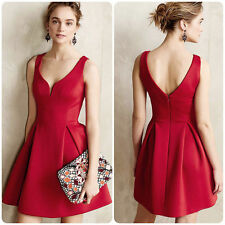 Women Short Dress Evening Party Bridesmaid Mini Dresses Red #2
