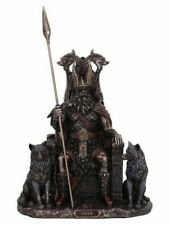 More details for bronze odin all father wolves and throne figurine nemesis now statue thor gods