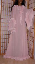Wundervolles Adult  Nylon  Nachtkleid Rüschen Spitzen  Rosa Sissy Negligee p