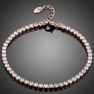 Tennis Bracelet Rose Gold Plated Clear White Rhinestones Bracelet Jewellery