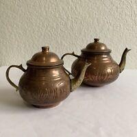Vintage Brass Copper Teapot Pair Tea Pot Set India Decor Beautiful Patina