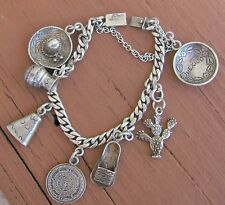 Vintage Signed Tencha Taxco Mexico Mexican Sterling Silver 8 Pc. Charm Bracelet