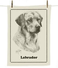 Mike Sibley Yellow Labrador dog breed cotton tea towel - dog lover gift