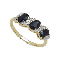 9CT GOLD 0.77ct SAPPHIRE & DIAMOND ETERNITY ENGAGEMENT RING ALL SIZES J - W