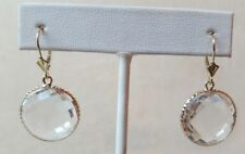 14k Earrings Yellow Gold  with Rock Crystal 18 mm round checkerboard.