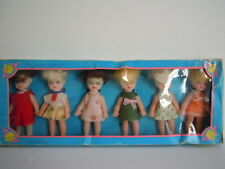 VINTAGE 1970'S SMALL HONG KONG DOLL SET OF 6 DOLLS IN THEIR ORIGINAL PACKAGE