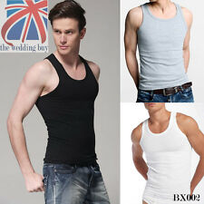 3 X MENS VESTS FITTED 100% Cotton TANK TOP SUMMER TRAINING GYM TOPS PACK BX001
