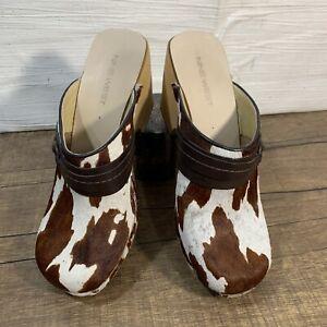 Nine West Spunkyr Cow Fur Clogs Wood Sole Bojo Hippie Shoes Mules Women 6.5 READ