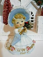 Vtg Shopper Girl Angel Blue Umbrella Easter Bonnet Hat Pink Roses Mary Lu xmas