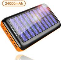 Batterie Externe 24000mAh Power Bank Chargeur Portable Solaire USB Haute Vitesse