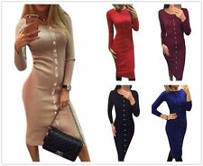Women Long Sleeve Button Bodycon Pencil Dress Evening Cocktail Club Dress Skirt
