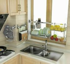 Dish Drainer Organizer Stainless Steel Kitchen Storage Rack Holder Shelves Racks