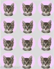 12 Grey Kitten Cupcake Decoration Edible Rice Paper Cake Topper Pre Cut Cat 40mm