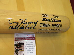 "TOM (TOMMY) HENRICH Signed 34"" Adirondack Model Baseball Bat -JSA Authenticated"