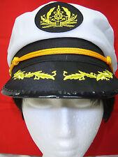 White Sea Sailor Captain Captains Cap Hat For Navy Skipper Fancy Dress & Access