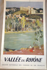 Original vintage travel poster Yves Brayer 1951 Valle Du Rhone French Railroad