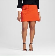 Victoria Beckham Target 2X Orange Mod Twill Skirt Plus Size Scallop Trim NEW