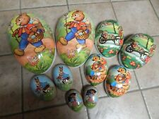 """Vtg German Nestler Easter Paper Mache Huge 14"""" Nesting 5 Candy Containers"""