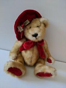 "Dan Dee TEDDY BEAR Plush Stuffed Red Hat Bow Ribbon Paw Foot Pads Brown Tan 11"""