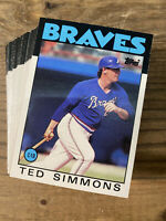 (60) 1986 Topps Traded #102T Ted Simmons Atlanta Braves NM-MT+ Lot