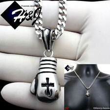 "20""MEN Stainless Steel 4.5mm Silver Cuban Curb Necklace Boxing Glove Pendant*P75"