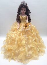 NEW Yellow Gold 20 in. 15 Anos Quinceanera Ruffle Porcelain Umbrella Muñeca Doll