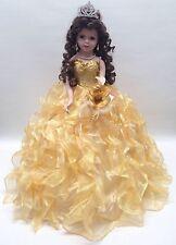 NEW Yellow Gold 20 in. 15 Anos Quinceanera Ruffle Porcelain Umbrella Muñeca Doll