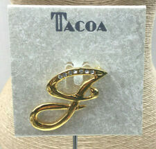 Tacoa Pin Rhinestone Crystal Sparkly Cast Goldtone Letter J Brooch