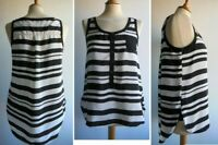 LTB Black White Stripe Top Vest Sleeveless Blouse Size M UK 12 approx