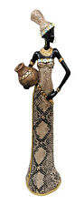 Black Gold Lady Masai Figurine Gift Ornament African Female Tribal Ladies Statue
