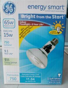 New GE 15 Watt 65 Watt Replacement Energy Smart Indoor Floodlight R30 CFL Bulb