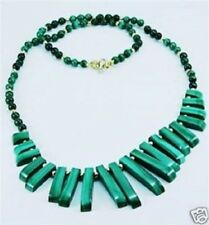 enuine malachite stone beaded necklace 14k gold clasp ! Gift Jewelry & Love