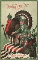 Patriotic Thansgiving - Uncle Sam & Giant Turkey c1910 Postcard