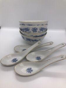 8 pc Blue & White Dragon Soup Bowls x4 Spoons x4 Taiwan