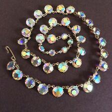 Open Back Faceted Glass Necklace Vintage Art Deco-1950's Rivière Crystal Bezel