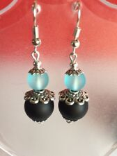 Sea Glass Style Dangle Earrings Black/Baby Blue