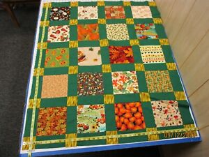Handmade Unfinished Quilt Top Autumn Scrappy Green  Sash Approx 38x46(523A)