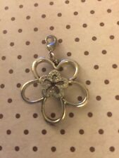 """Brighton Infinity Flower Charm Snap Silver Crystals Approx 1.5"""" Authentic"""