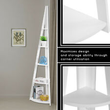 5 Tier Ladder Corner Bookcase Shelving Rack Retro Corner Shelf Unit White UK