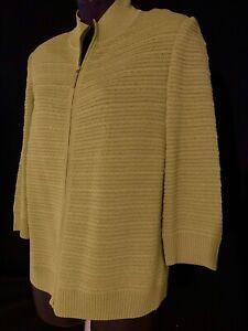 St John Zipper Sweater Size P Green Long Sleeve