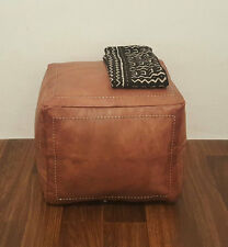 Moroccan Leather Ottoman Pouffe Pouf Footstool Coffee Table in Mid Tan