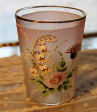 """Antique Victorian Hand Painted Pink Frosted Glass  """" Lily of the Valley & Daisie"""
