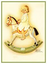 Jenny Nystrom Young Girl Rocking Horse Counted Cross Stitch Chart Pattern