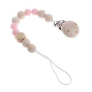 Wooden Baby Pacifier Clip Chain Holder Nipple Leash Strap Pacifier Soother New ~