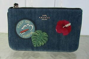 Coach Denim Patches Wallet Tropical F29399 NWT
